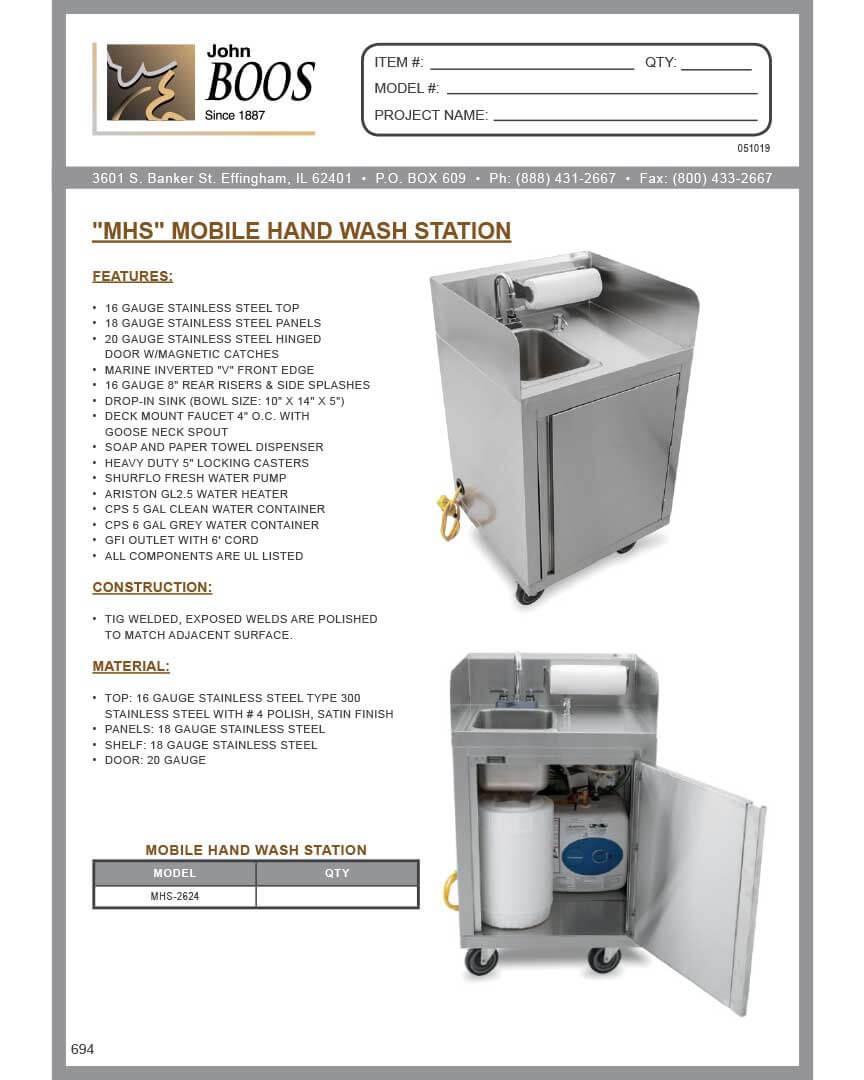 John Boos – Mobile Handwashing Station